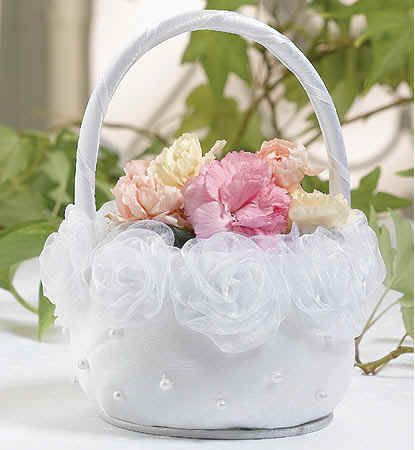 Flowergirl basket with fabric roses around the top rim