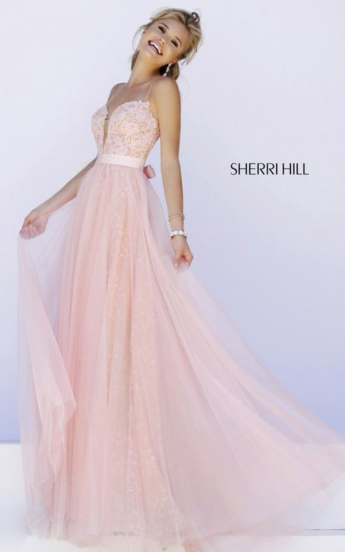 Lace Tulle Prom Dress 2015 Blush Sherri Hill 32229