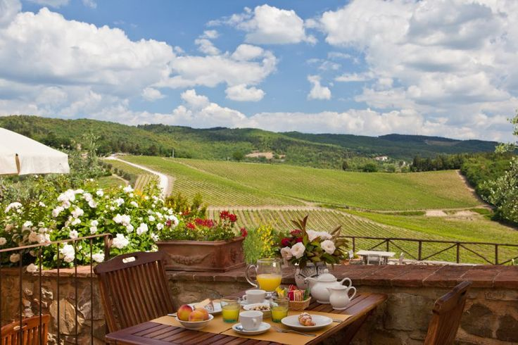 A beautiful view of the hills of Chianti from the terrace of Romitorio di Serelle Farmhouse in Barberino Val d'Elsa ( #tuscany, #italy)