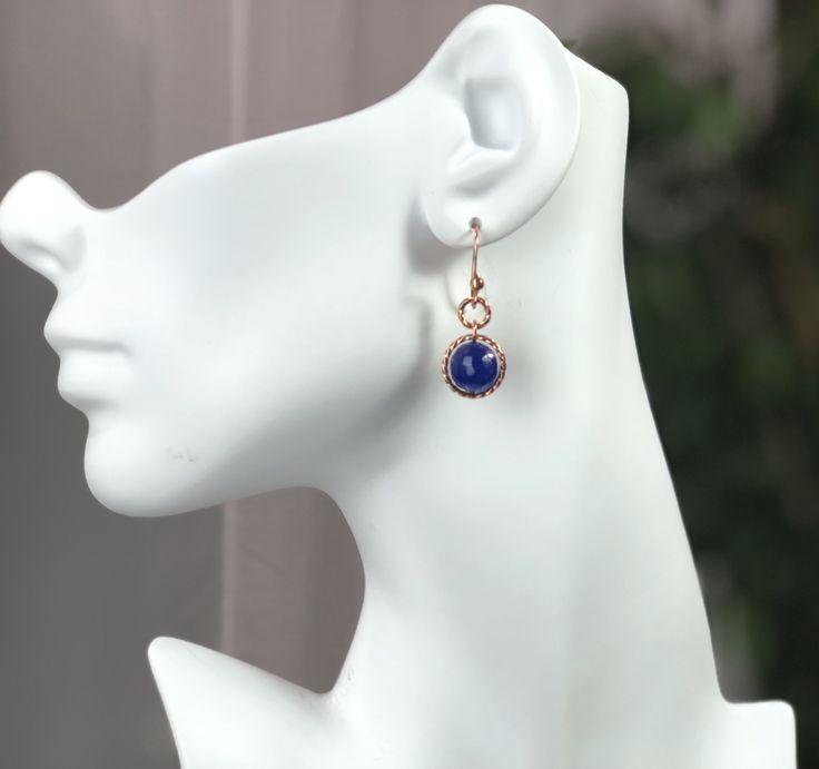 *Simply Jordan  Rose Gold Copper and Blue Agate Earrings. Copper Hooks