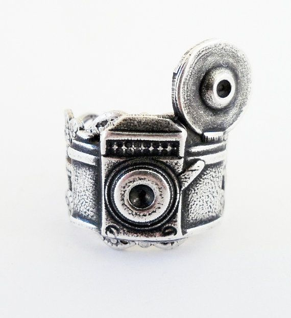 Camera ring: Rings Adjustable, Silver Ox, Camera Rings, Sterling Silver, Adjustable Sterling, Steampunk Camera, Antiques Brass, Reflex Camera, Camera Obsession