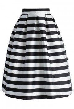 Stripes Full A-line Midi Skirt - Retro, Indie and Unique Fashion