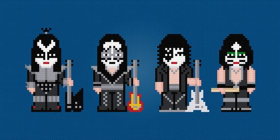 Kiss Rock Band - Digital PDF Cross Stitch Pattern This is a digital PDF file of a cross stitch pattern. You will need to have a PDF reader