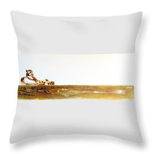 """Lazy Dayz Cheetah Throw Pillow 14"""" x 14"""" by Tracey Armstrong"""