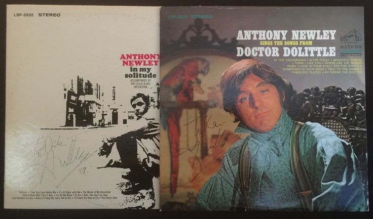 ANTHONY NEWLY 2 Vintage Signed LP Albums: Dr. Dolittle & In My Solitude