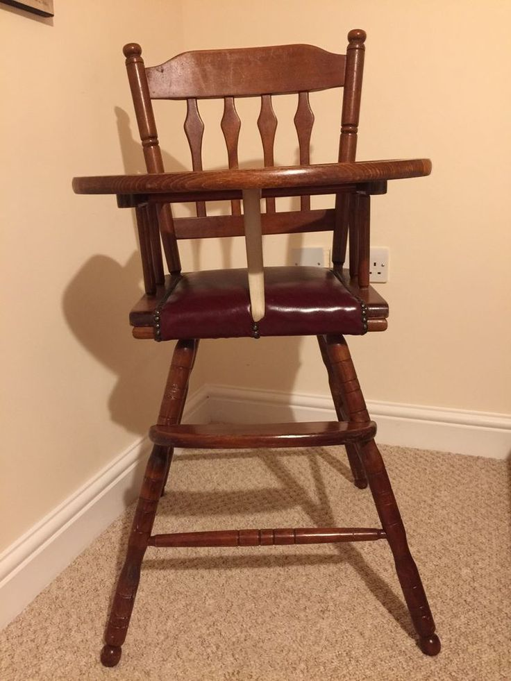 Vintage Wooden High Chair | Baby, Baby Feeding, High Chairs | eBay!