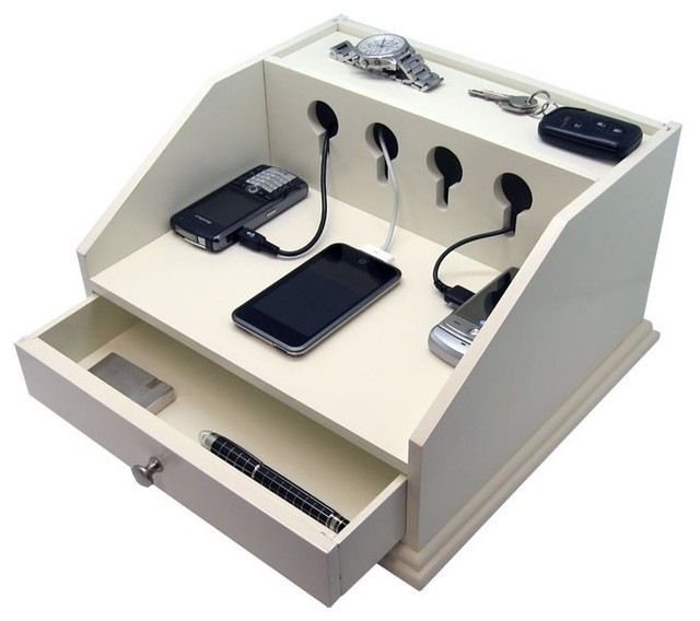 Li Organize Your Electronic Devices With The Deluxe Charging Station Valet Desk Organizer Has Two Open Shelves And A Pull Out Drawer Wood