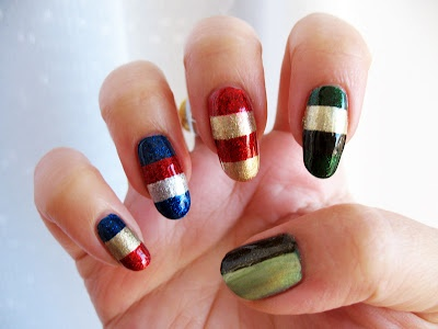 The Stripy Avengers - Minimalist Avengers-inspired nail art. Click the image for more!