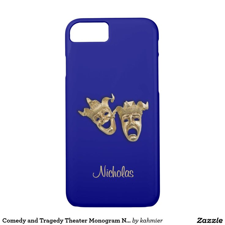 Comedy and Tragedy Theater Monogram Navy Blue iPhone 7 Case