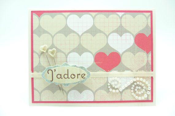 Happy Valentine's Day Card, Heart Valentine's Day, French J'Adore Valentine's Day Card, Handmade Paper Greeting Card