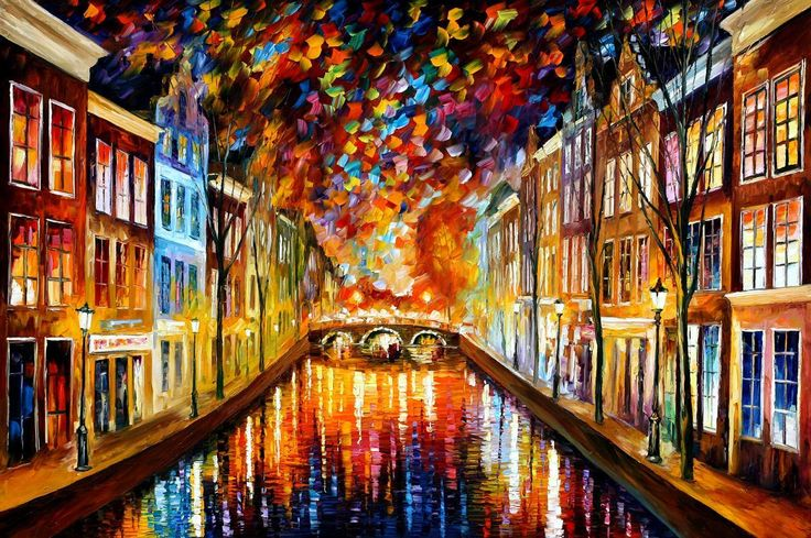 NIGHT AMSTERDAM - PALETTE KNIFE Oil Painting On Canvas By Leonid Afremov http://afremov.com/AMSTERDAM-PALETTE-KNIFE-Oil-Painting-On-Canvas-By-Leonid-Afremov-Size-24-x36.html?bid=1&partner=20921&utm_medium=/vpin&utm_campaign=v-ADD-YOUR&utm_source=s-vpin