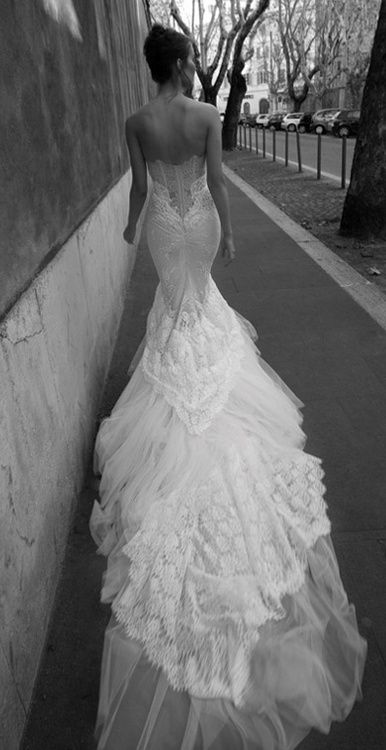The TRAIN on this tho...  Planning for my sister Manda's wedding, even though she's no where CLOSE to being married. But this dress would be perfect! Very peacock-esqe.