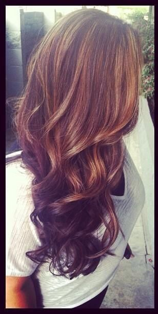 Brown hair with caramel highlights and dark underneath! Hmmm... Should I do this tomorrow?!