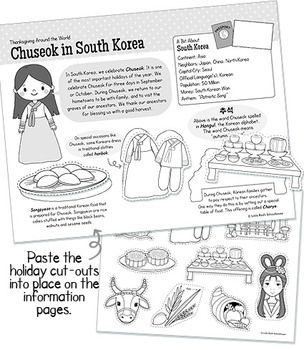 Thanksgiving Around the World Packet - an example of one of the country interactive information sheets - this one about Chuseok in South Korea $