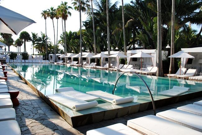 Swimming pool at the Delano Hotel, Miami, South Beach