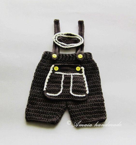Hosen - Gehäkelte Lederhose für Baby, Baby Trachtenhose - ein ...