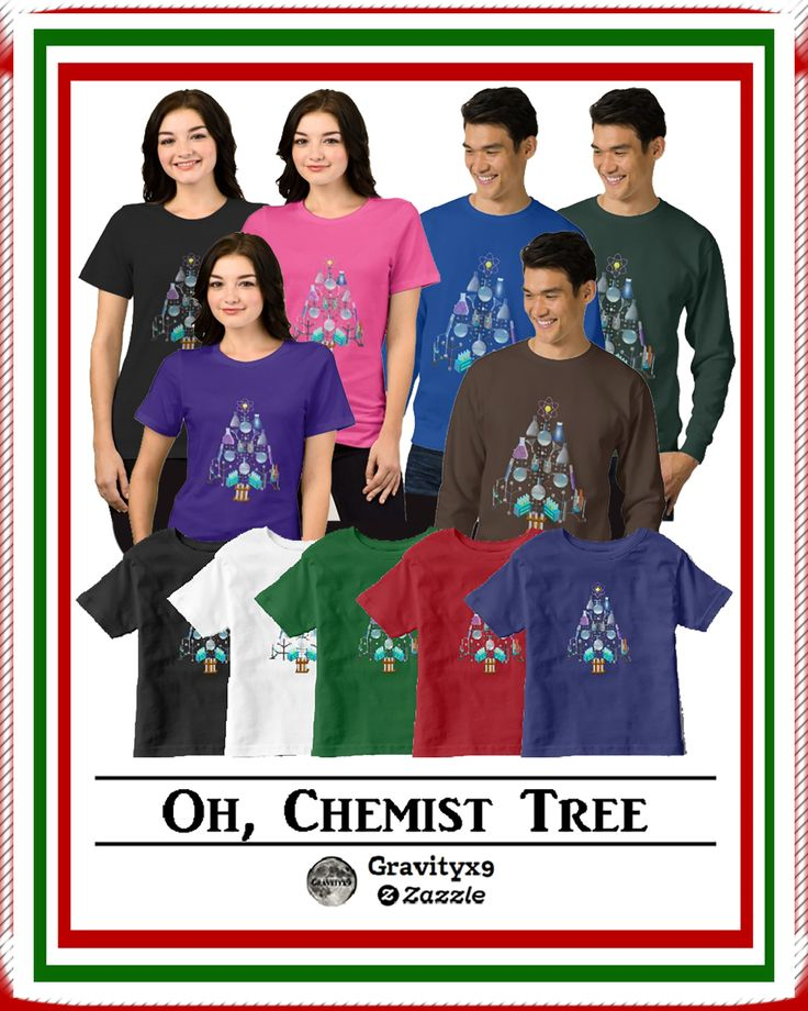 Oh Chemistry, Oh Chemist Tree Family Tee Shirts by  #I_love_xmas & #Gravityx9 Designs from Zazzle. #chemistry #christmasshopping #labequipment #christmasshirt #Christmaswear