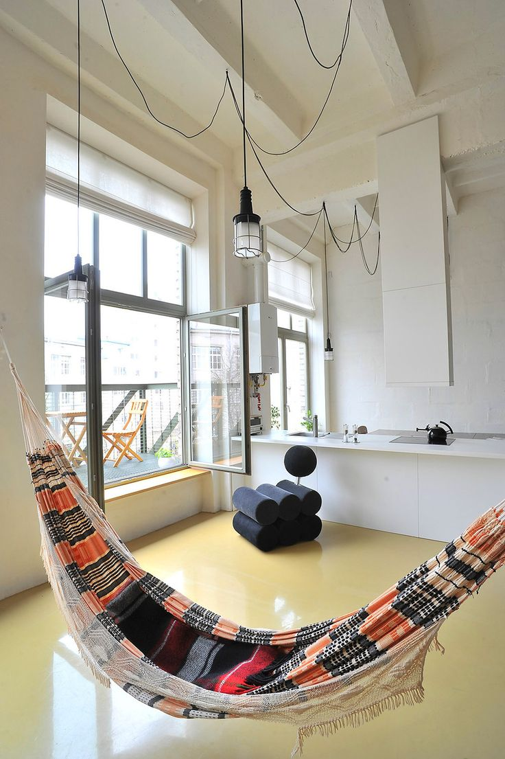Hammock bed indoor - Apartment Exotic Hammock In Southern Pattern Style To Enhance The