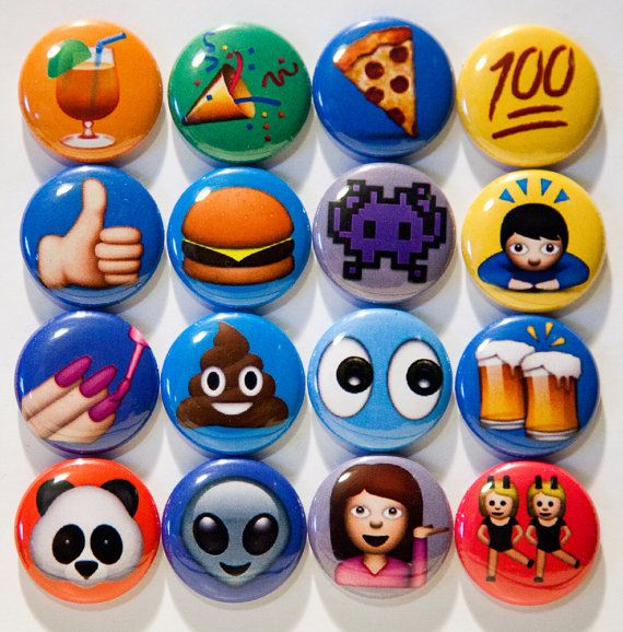 Set of 16 1 pinback emoji buttons by 8bitbuttons on Etsy, $10.00