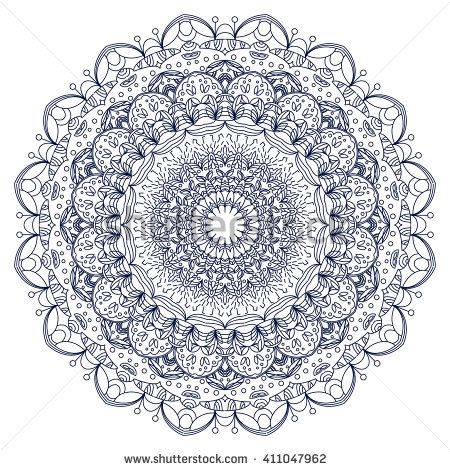 Vector mandala. Decor for your design, lace ornament, round pattern with lots of details. Oriental style, handmade lace.