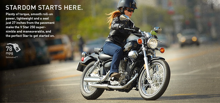 Yamaha v star 650 78 mpg 27 inch seat height 4 2 gallon for Yamaha motorcycles for women