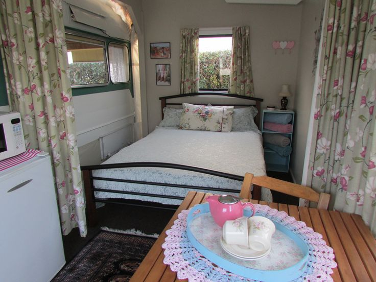 Awning interior includes a double bed - Vintage Retro Caravan, Cosy Corner Holiday Park, Mt Maunganui, NZ