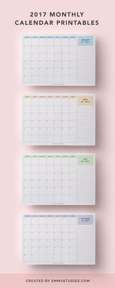 2017 monthly calendar printables free to download by emmastudies in pastel colours (peach, blue, mint and purple)