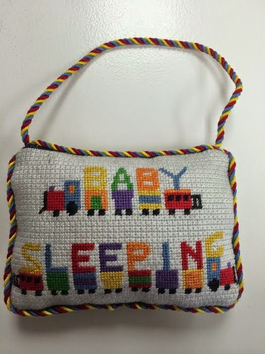 Ridgewood Needlepoint Blog: Babt sleeping door hanger