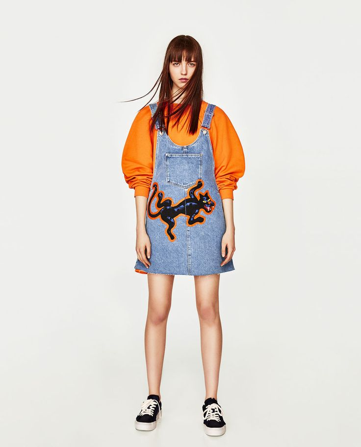 DENIM PINAFORE DRESS WITH PANTHER DESIGN-NEW IN-TRF   ZARA United States