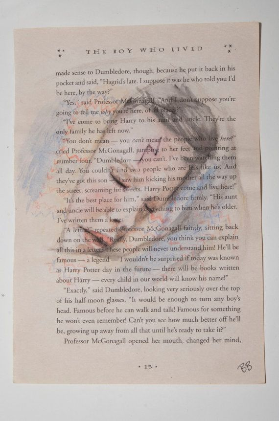 This is an original watercolor painting over an actual page of Harry Potter and the Sorcerers Stone by JK Rowling.
