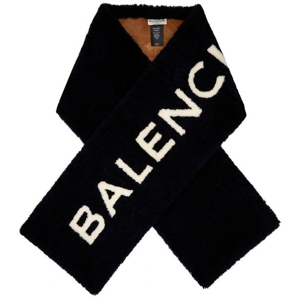 Balenciaga Shearling logo-intarsia scarf ($2,550) ❤ liked on Polyvore featuring accessories, scarves, balenciaga, tops, navy, navy blue shawl, navy blue scarves, navy scarves and navy shawl