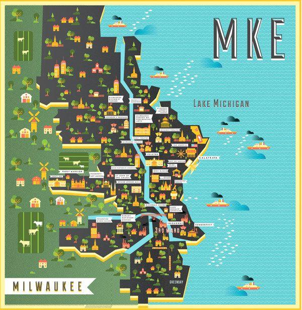 Map Of Milwaukee By Manuja Waldia Via Behance Home Sweet Home