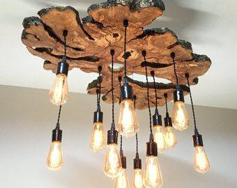 Grote Live rand olijf hout Slab kroonluchter licht meubilair met Edison bollen - 0029 Modern/industrieel/rustiek/Earthy *