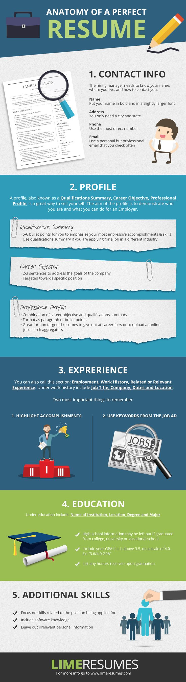 Anatomy of a perfect resume - Infographic on how to put together a resume for any industry.