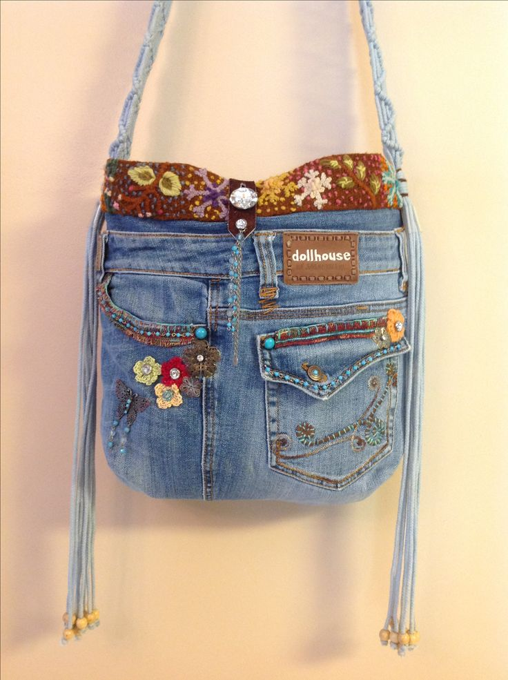 OOAK denim purse made from recycled Dollhouse jeans.