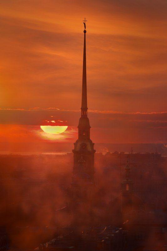 Sunset in Saint Petersburg, Russia