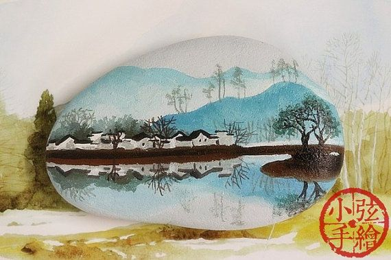 Landscape, river rock, hand paint stone, brithday, gift, girl, boy, painted rock art,Christmas, thanksgiving