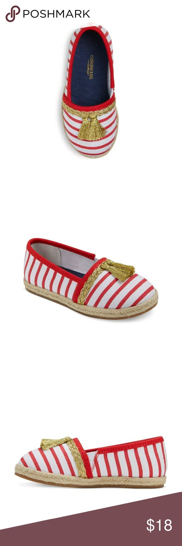 Toddler Girls Espadrilles Genuine Kids Size 11 Toddler Girls Espadrilles Genuine Kids Size 11   Fit & Style   Breathable, 100% cotton construction keeps her feet cool and comfortable  Rubber sole helps prevent slips and falls  Elastic panel on the side makes it easy for her to slip them on and off. Price is firm. Osh Kosh Shoes