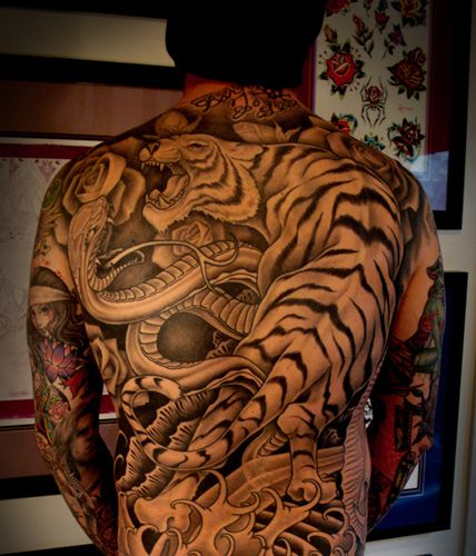Tiger And Dragon Full Chest Piece: Tiger By Tim Hendricks