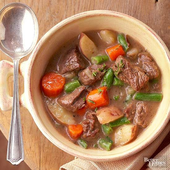 Set aside 30 minutes in the morning to make this hearty soup. Most of the prep time is spent browning the beef chuck roast to bring out its rich flavor./