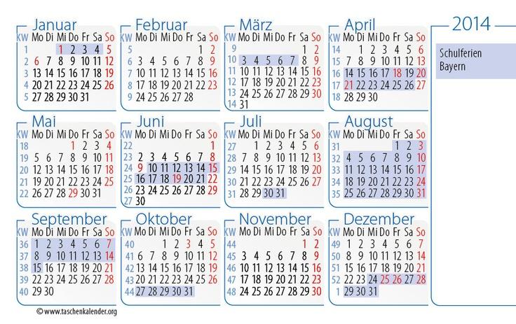 Taschenkalender im Scheckkartenformat 2014 mit Schulferien und Feiertagen von Bayern