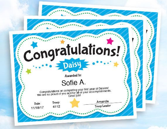 Girl Scouts Daisy Congratulations Certificate template. A stylish certificate for everyone in your troop. Use year after year.