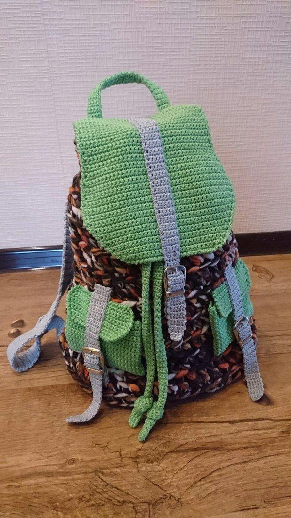 Мастер-класс: как сделать рюкзак из старого пледа вязание крючком, мастер-класс, длиннопост, своимируками, хобби, сделай сам, моё, вязание