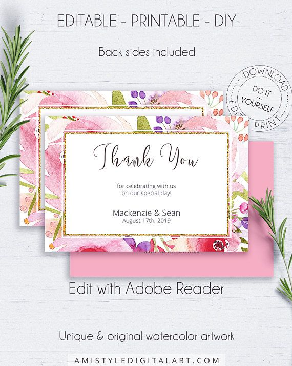 Botanical printable thank you card - if you like the beautiful vivid designs and the whimsical style, this thank you card is perfect for you on your big day! It's embellished with handmade watercolor flowers.This printable thank you card is for an instant download EDITABLE PDF so you can download it right away, DIY edit and print it at home or at your local copy shop by Amistyle Digital Art on Etsy