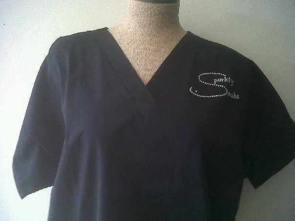 How it all got started- our original Sparkly Scrubs! Order your custom # scrubs