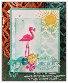 Stampin' Up! Flamingo Lingo, striped scallop thinlit, kinda eclectic, Caring Flamingo