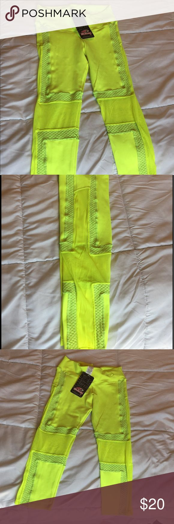 Mesh design leggings Brazilian brand - neon yellow capris with mesh designs front back and sides Pants Capris