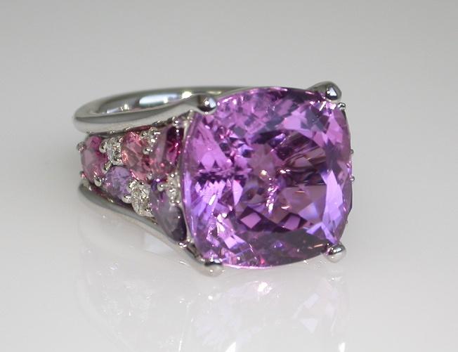 Mark Patterson Kunzite, Diamonds and Pink Tourmaline Ring.