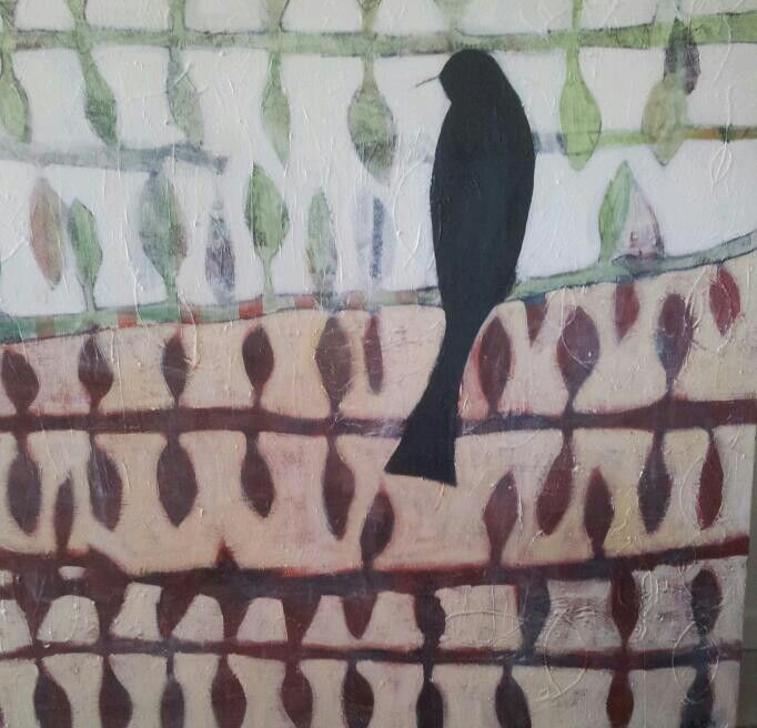 River watcher ivonne mace. Mixed media on canvas.Sold.