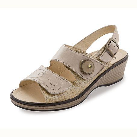 Sandalias de piel Noia Tira Beige